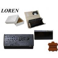 Naiste rahakott 72033-CRO-RCL Black, LOREN, Nahast rahakotid