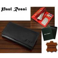 Naiste rahakott D09-GPL BLACK, PAUL ROSSI, Nahast rahakotid