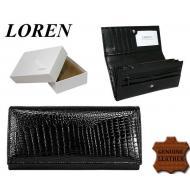 Naiste rahakott DL-13-RS Black, LOREN, Nahast rahakotid