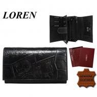 Naiste rahakott N19L-EGYPT BLACK, LOREN, Nahast rahakotid