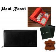 Naiste rahakott N22-GPL BLACK, PAUL ROSSI, Nahast rahakotid